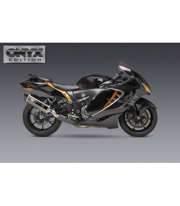 HAYABUSA 2022 RACE R-77 DUAL STAINLESS SLIP-ON EXHAUST, W/ ONYX MUFFLERS AND CARBON END-CAPS
